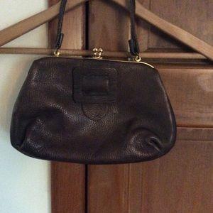 Vintage brown leather purse handbag